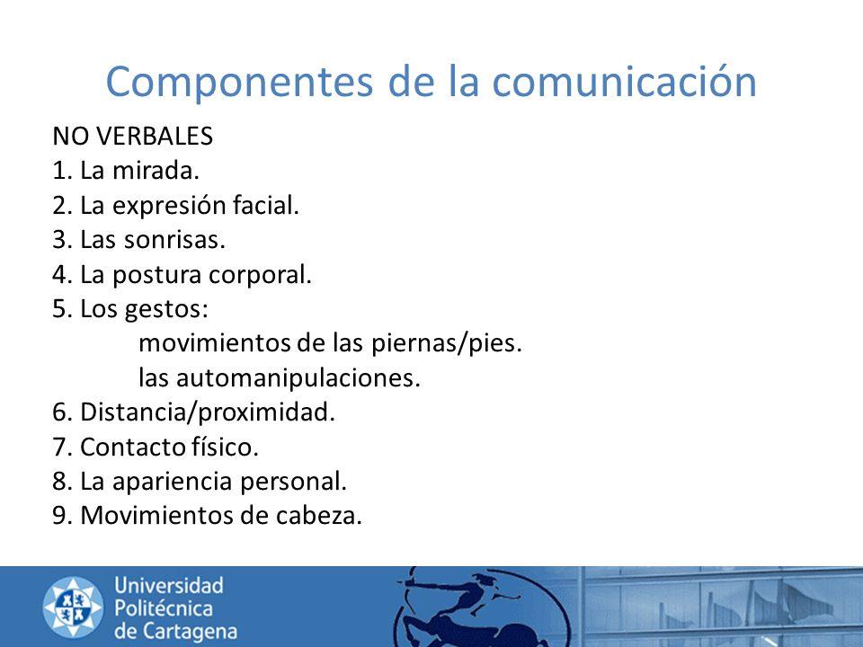 Componentes de la comunicación NO VERBALES 1. La mirada. 2. La expresión facial. 3. Las sonrisas. 4. La postura corporal. 5. Los gestos: movimientos d