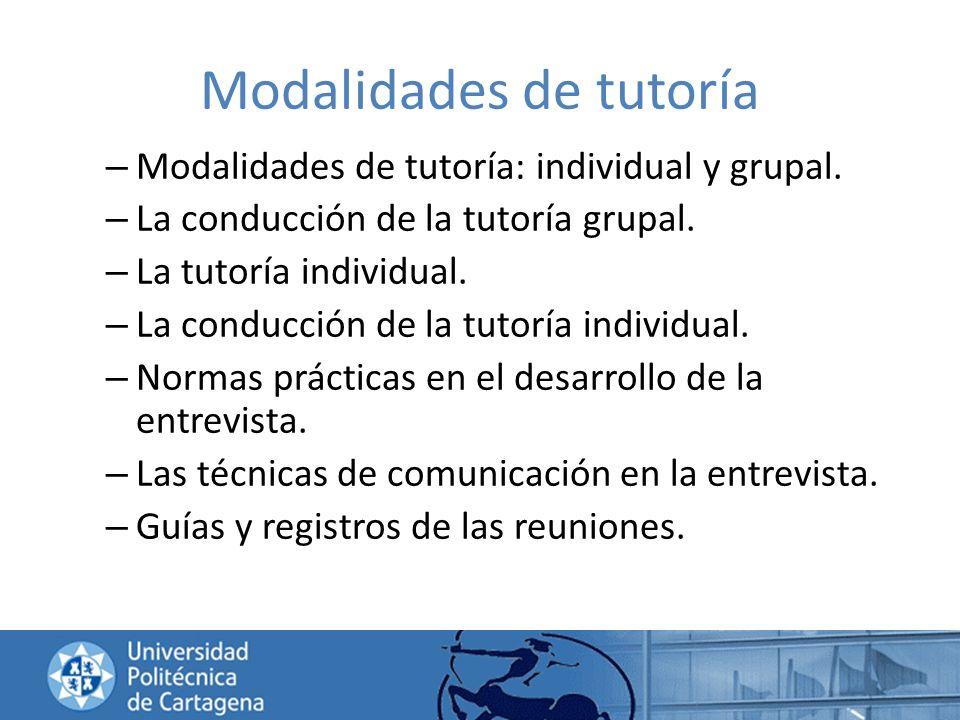 Modalidades de tutoría – Modalidades de tutoría: individual y grupal. – La conducción de la tutoría grupal. – La tutoría individual. – La conducción d
