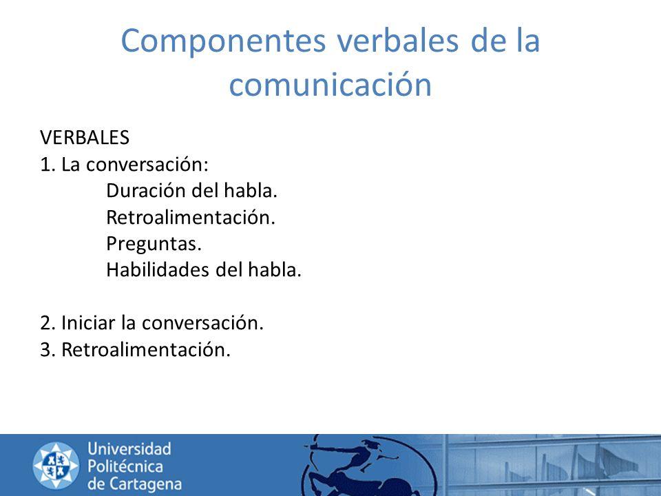 Componentes verbales de la comunicación VERBALES 1. La conversación: Duración del habla. Retroalimentación. Preguntas. Habilidades del habla. 2. Inici
