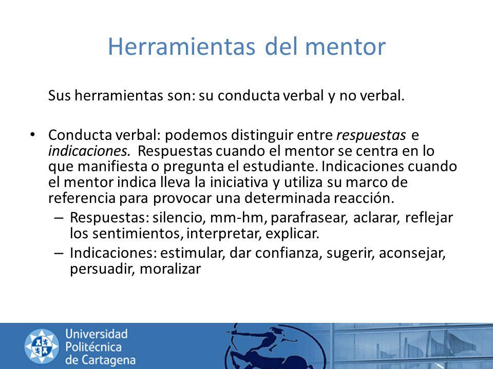 Herramientas del mentor Sus herramientas son: su conducta verbal y no verbal. Conducta verbal: podemos distinguir entre respuestas e indicaciones. Res