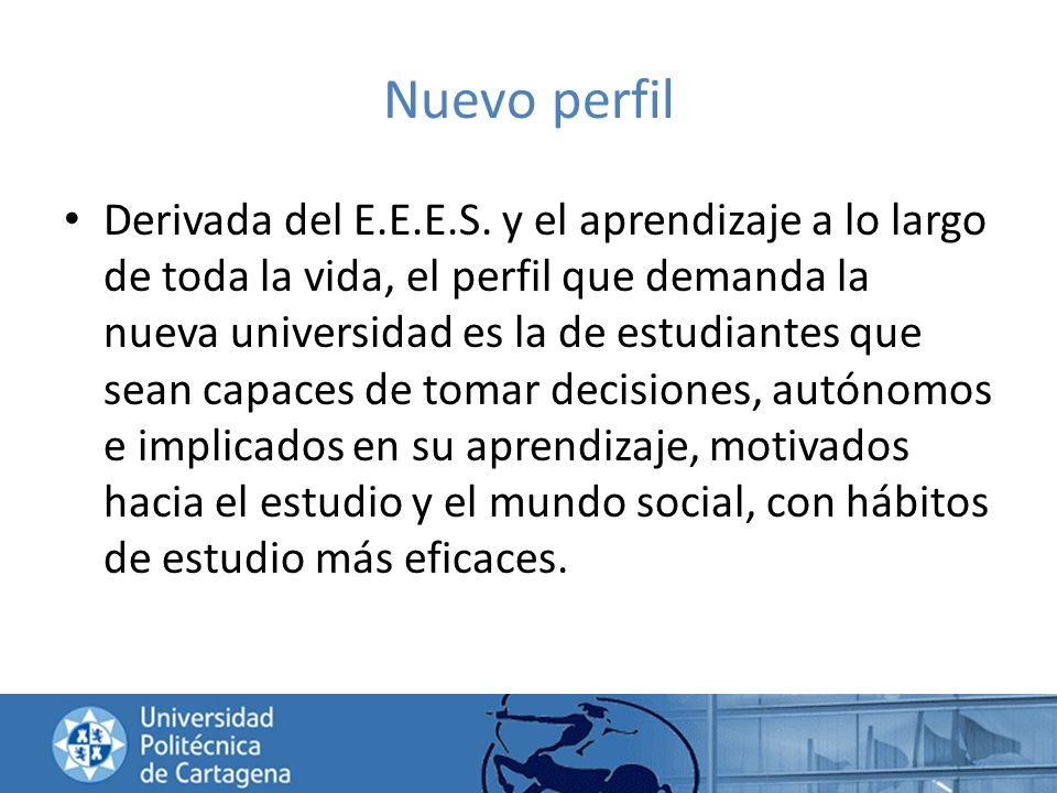 Nuevo perfil Derivada del E.E.E.S. y el aprendizaje a lo largo de toda la vida, el perfil que demanda la nueva universidad es la de estudiantes que se