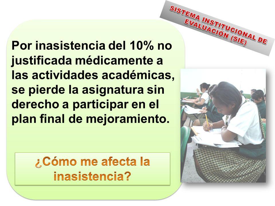 Por inasistencia del 10% no justificada médicamente a las actividades académicas, se pierde la asignatura sin derecho a participar en el plan final de mejoramiento.