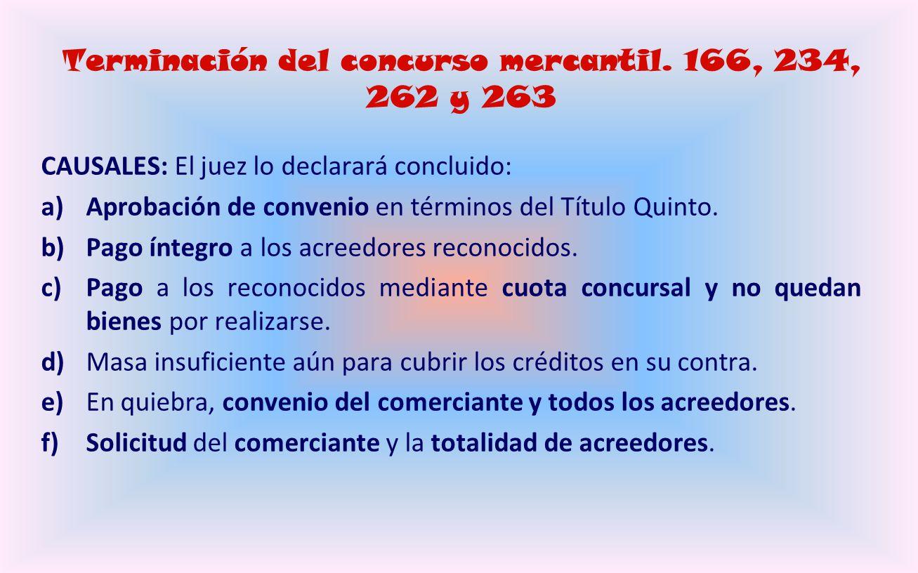 Declaración de quiebra y efectos. 176 a 216 y 229 a 236 Son los mismos que en el concurso mercantil ordinario: contenido de la sentencia, designación