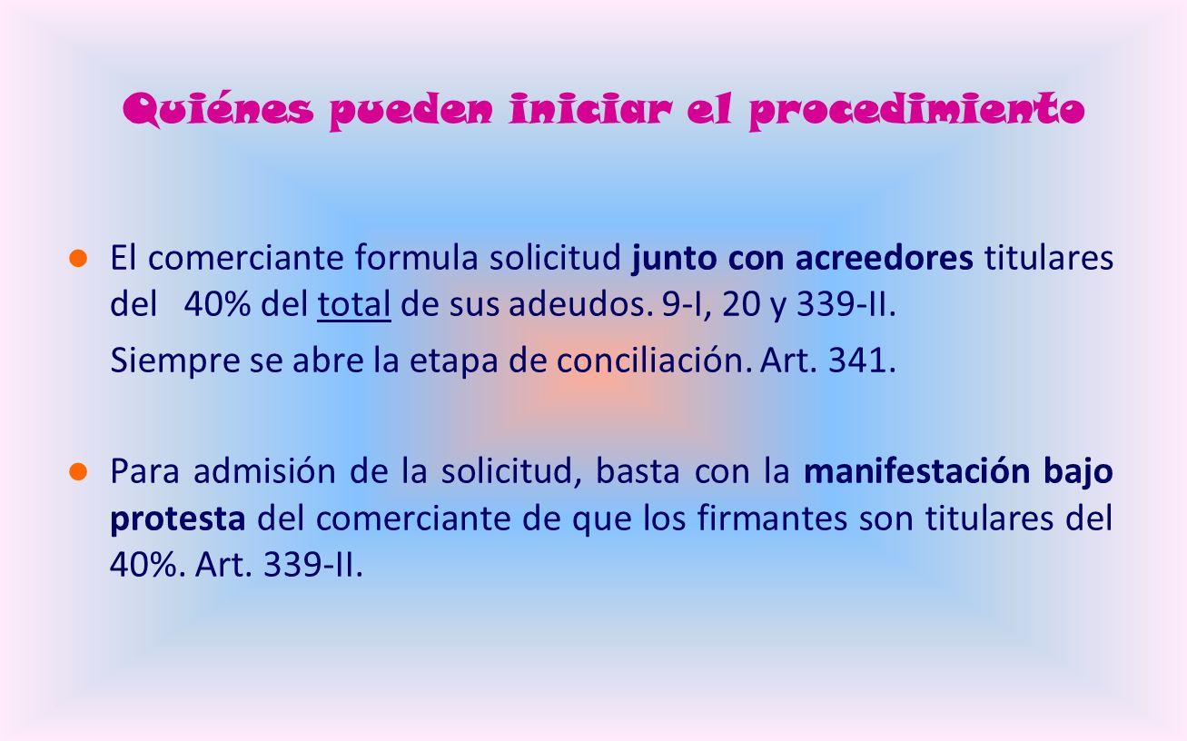 Quiénes pueden iniciar el procedimiento El comerciante formula solicitud junto con acreedores titulares del 40% del total de sus adeudos.