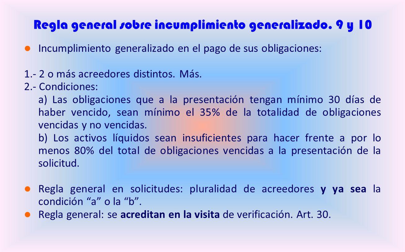 Regla general sobre incumplimiento generalizado.