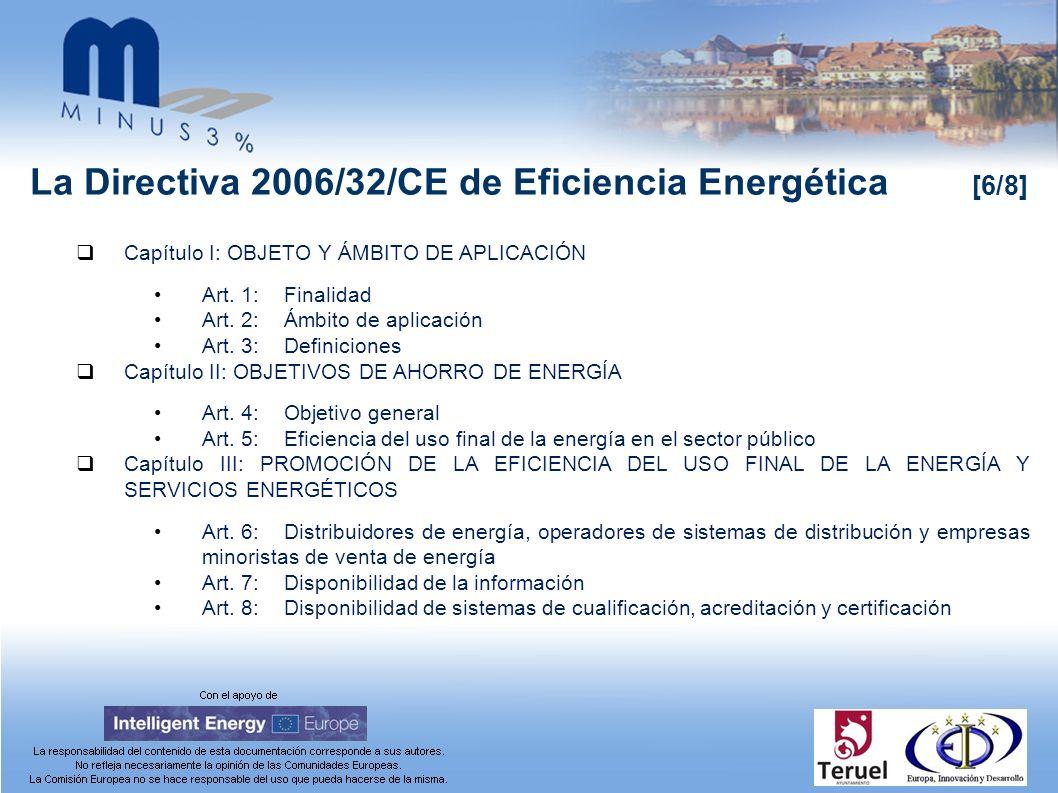 La Directiva 2006/32/CE de Eficiencia Energética [6/8] Capítulo I: OBJETO Y ÁMBITO DE APLICACIÓN Art. 1:Finalidad Art. 2:Ámbito de aplicación Art. 3:D