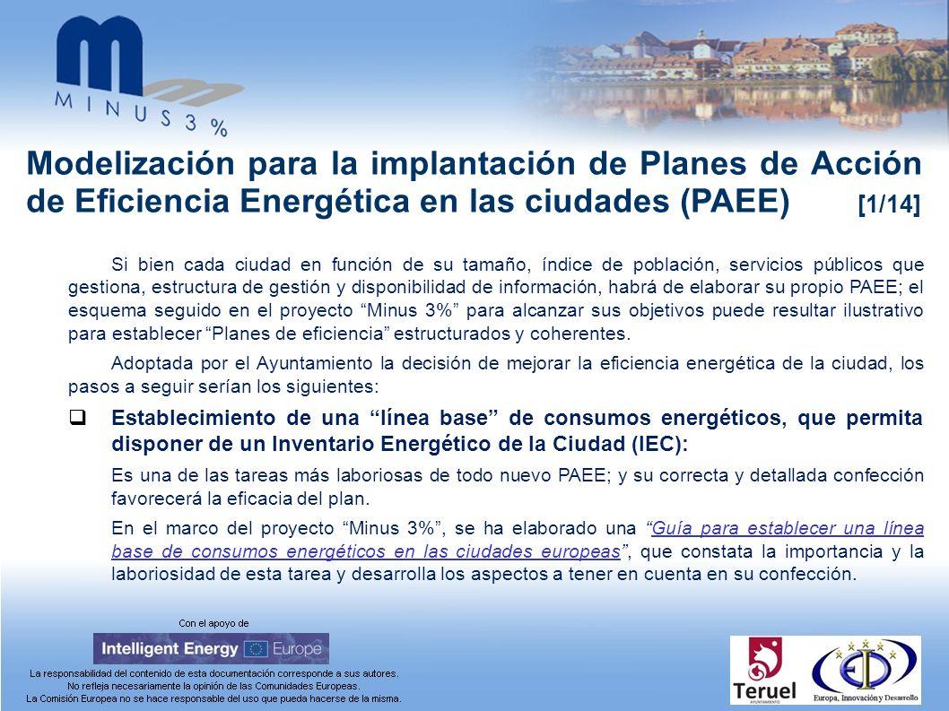 Modelización para la implantación de Planes de Acción de Eficiencia Energética en las ciudades (PAEE) [1/14] Si bien cada ciudad en función de su tama