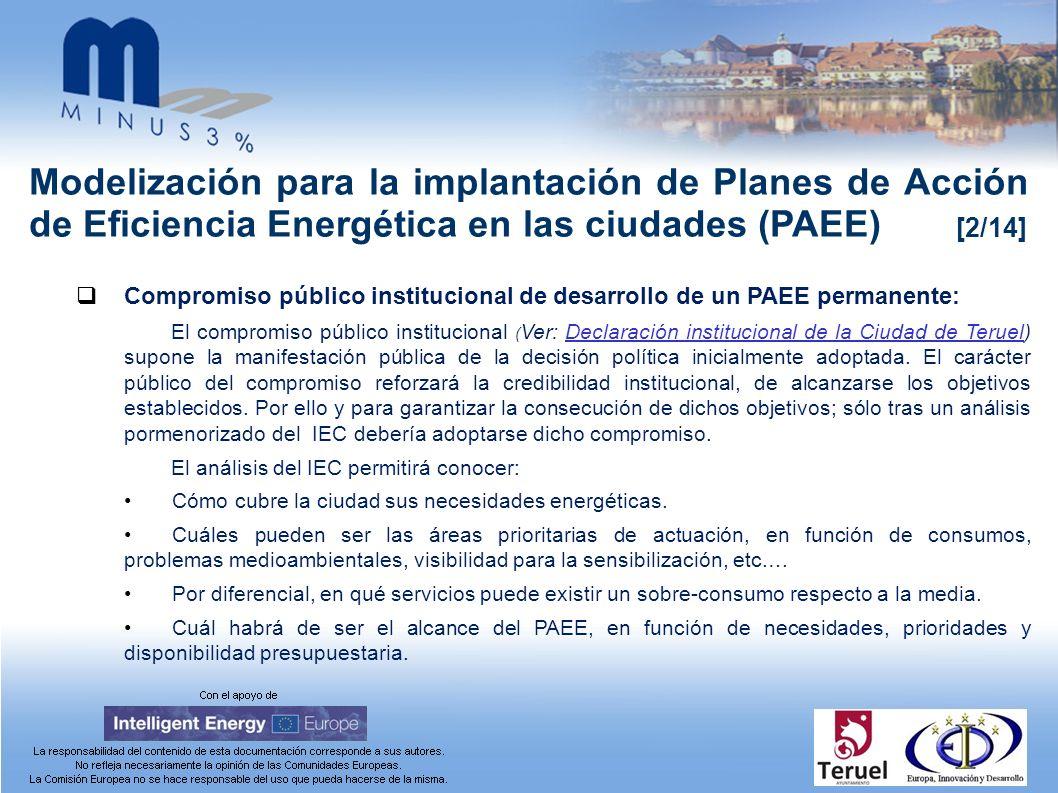 Modelización para la implantación de Planes de Acción de Eficiencia Energética en las ciudades (PAEE) [2/14] Compromiso público institucional de desar