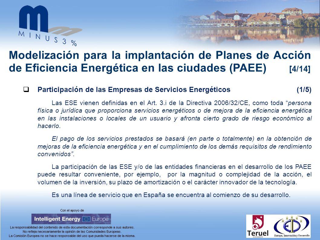 Modelización para la implantación de Planes de Acción de Eficiencia Energética en las ciudades (PAEE) [4/14] Participación de las Empresas de Servicios Energéticos(1/5) Las ESE vienen definidas en el Art.