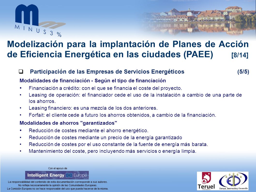 Modelización para la implantación de Planes de Acción de Eficiencia Energética en las ciudades (PAEE) [8/14] Participación de las Empresas de Servicios Energéticos(5/5) Modalidades de financiación - Según el tipo de financiación Financiación a crédito: con el que se financia el coste del proyecto.