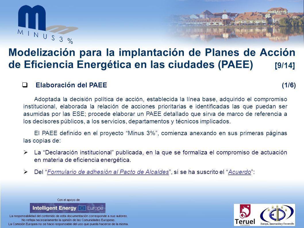 Modelización para la implantación de Planes de Acción de Eficiencia Energética en las ciudades (PAEE) [9/14] Elaboración del PAEE(1/6) Adoptada la dec