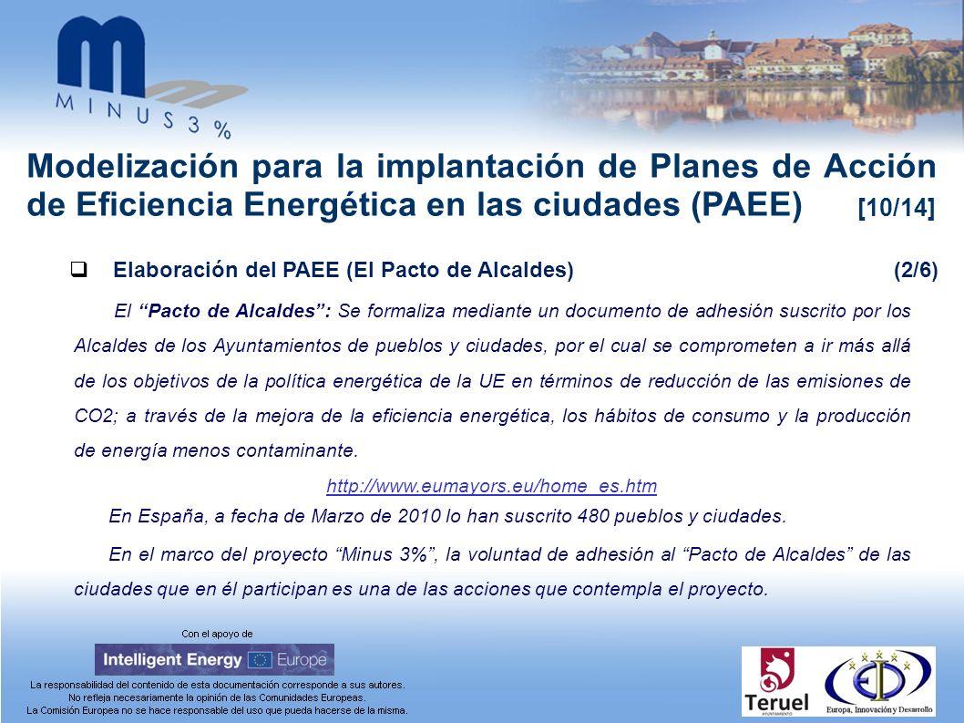 Modelización para la implantación de Planes de Acción de Eficiencia Energética en las ciudades (PAEE) [10/14] Elaboración del PAEE (El Pacto de Alcald