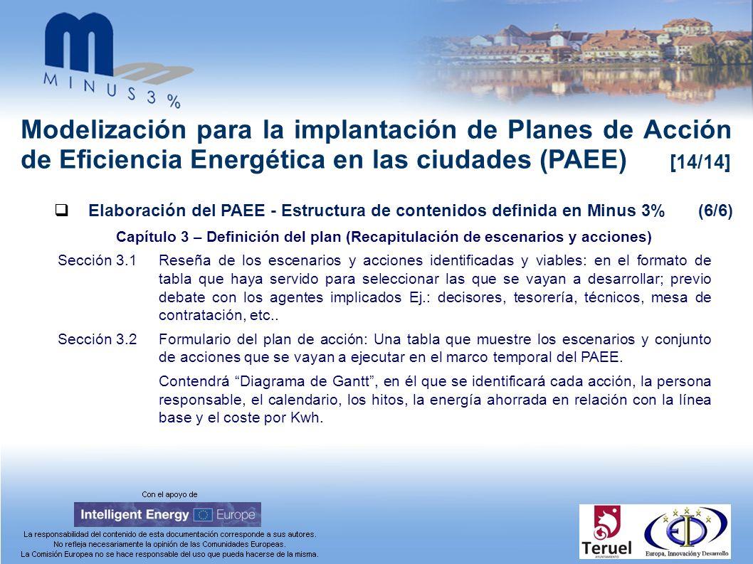 Modelización para la implantación de Planes de Acción de Eficiencia Energética en las ciudades (PAEE) [14/14] Elaboración del PAEE - Estructura de con
