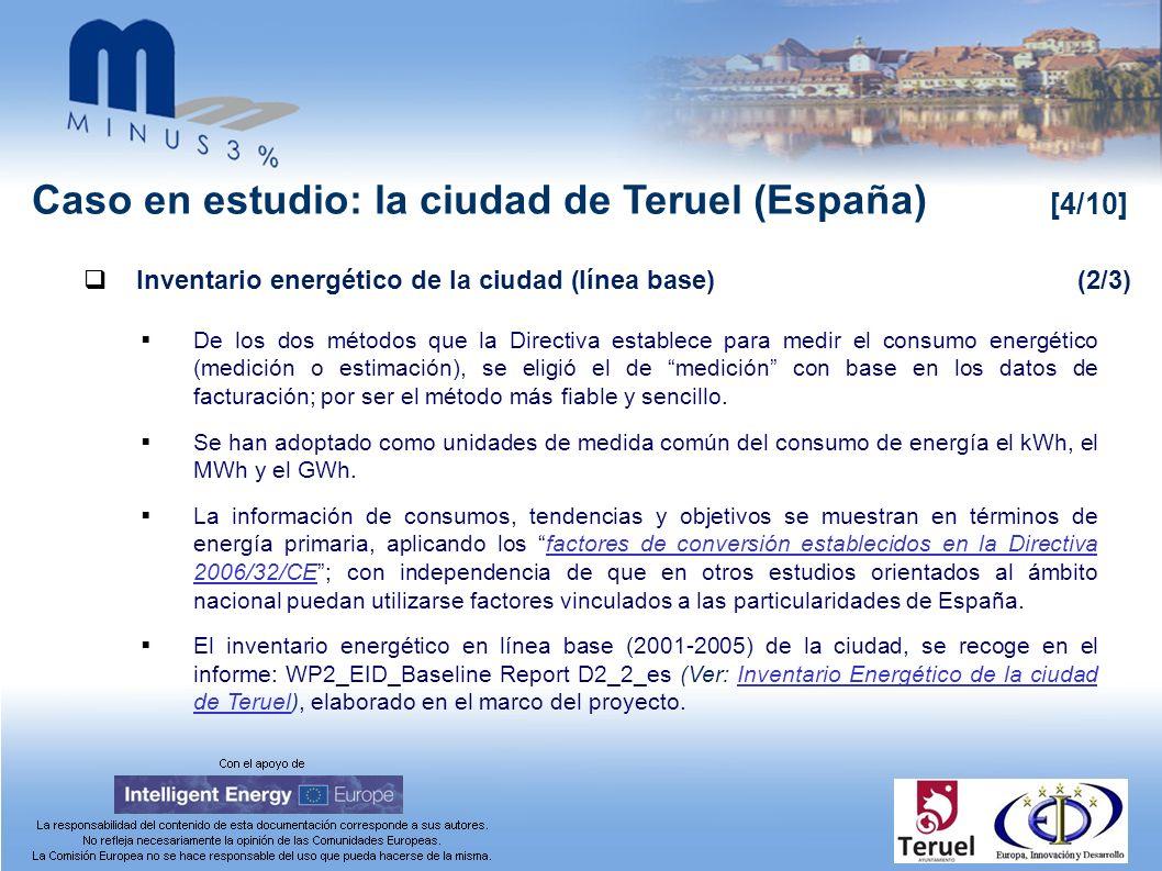 Caso en estudio: la ciudad de Teruel (España) [4/10] Inventario energético de la ciudad (línea base)(2/3) De los dos métodos que la Directiva establece para medir el consumo energético (medición o estimación), se eligió el de medición con base en los datos de facturación; por ser el método más fiable y sencillo.
