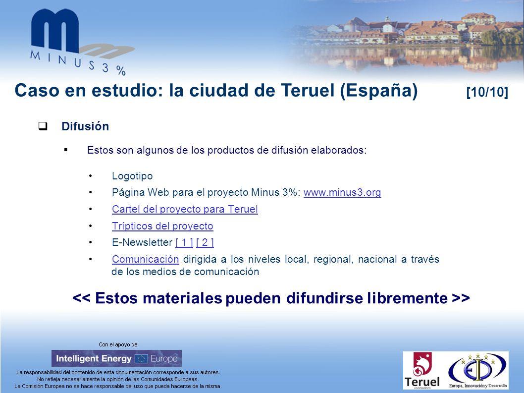 Caso en estudio: la ciudad de Teruel (España) [10/10] Difusión Estos son algunos de los productos de difusión elaborados: Logotipo Página Web para el