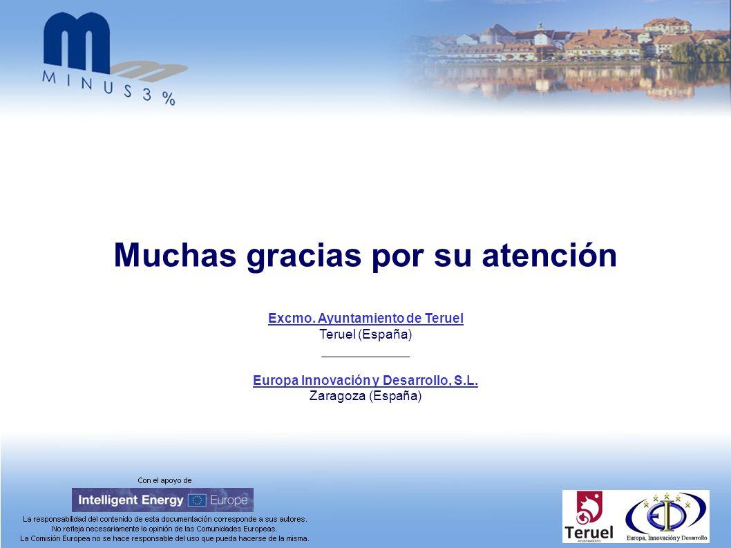 Excmo. Ayuntamiento de Teruel Teruel (España) Europa Innovación y Desarrollo, S.L. Zaragoza (España) Muchas gracias por su atención