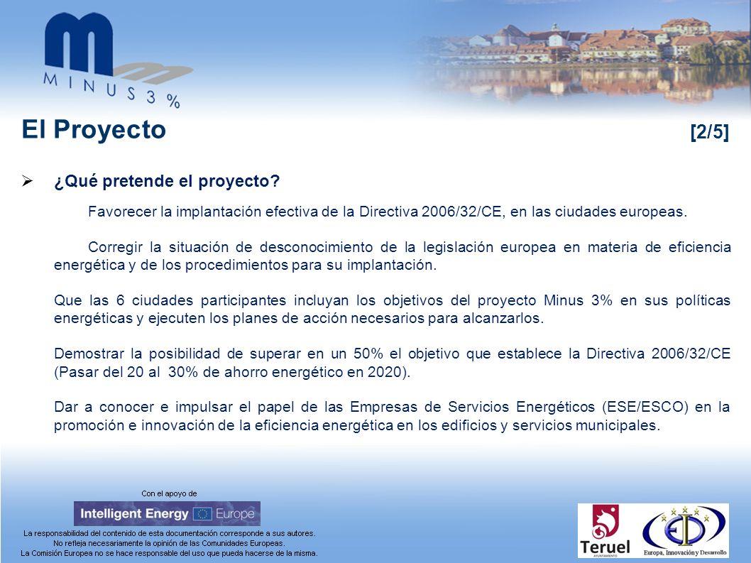 El Proyecto [2/5] ¿Qué pretende el proyecto? Favorecer la implantación efectiva de la Directiva 2006/32/CE, en las ciudades europeas. Corregir la situ