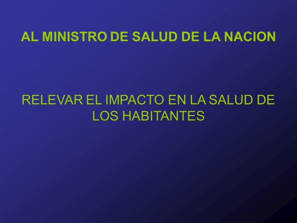 AL MINISTRO DE SALUD DE LA NACION RELEVAR EL IMPACTO EN LA SALUD DE LOS HABITANTES