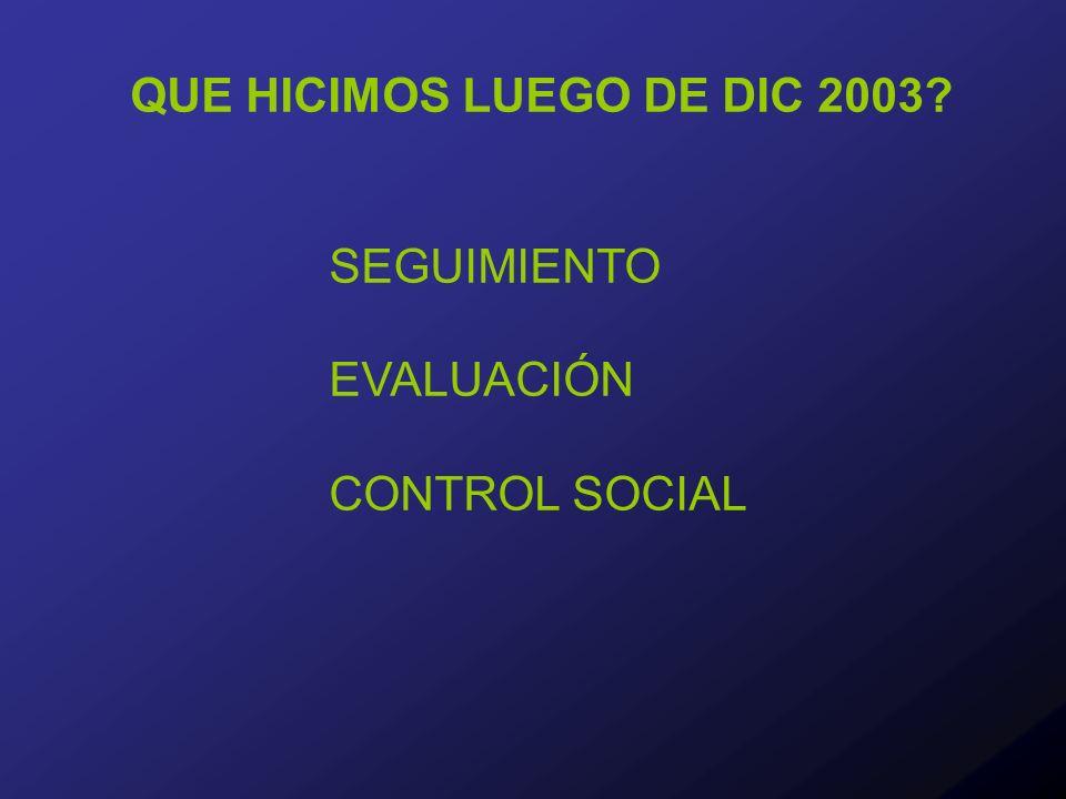 QUE HICIMOS LUEGO DE DIC 2003 SEGUIMIENTO EVALUACIÓN CONTROL SOCIAL