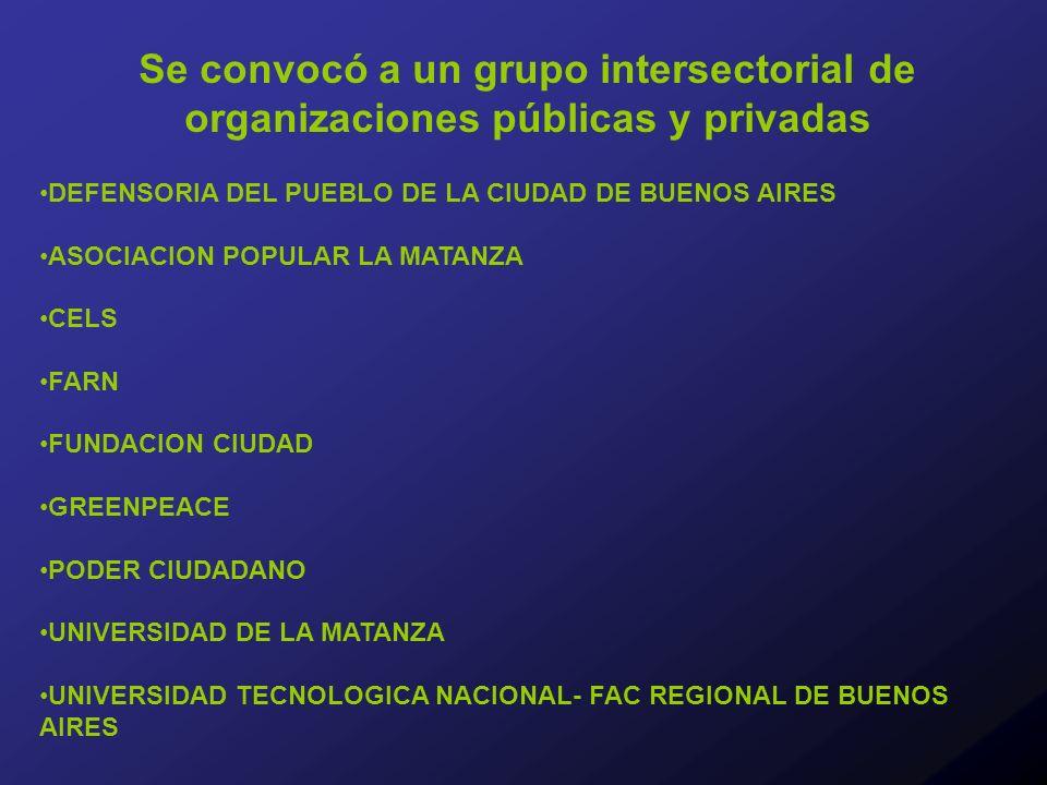 Se convocó a un grupo intersectorial de organizaciones públicas y privadas DEFENSORIA DEL PUEBLO DE LA CIUDAD DE BUENOS AIRES ASOCIACION POPULAR LA MATANZA CELS FARN FUNDACION CIUDAD GREENPEACE PODER CIUDADANO UNIVERSIDAD DE LA MATANZA UNIVERSIDAD TECNOLOGICA NACIONAL- FAC REGIONAL DE BUENOS AIRES