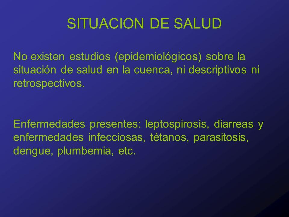 SITUACION DE SALUD No existen estudios (epidemiológicos) sobre la situación de salud en la cuenca, ni descriptivos ni retrospectivos.
