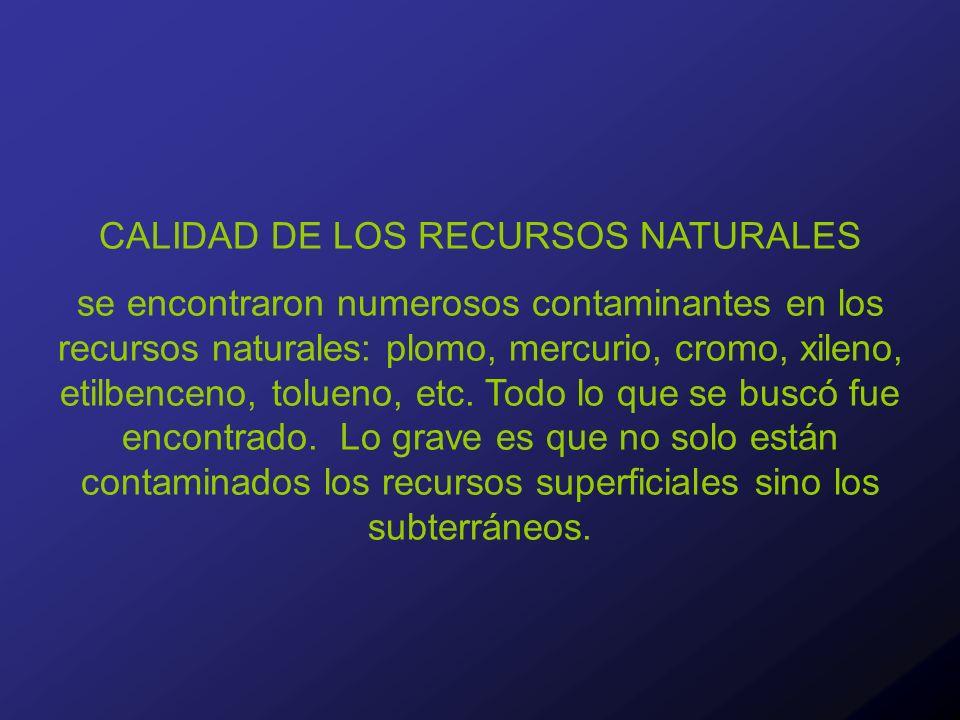 CALIDAD DE LOS RECURSOS NATURALES se encontraron numerosos contaminantes en los recursos naturales: plomo, mercurio, cromo, xileno, etilbenceno, tolueno, etc.