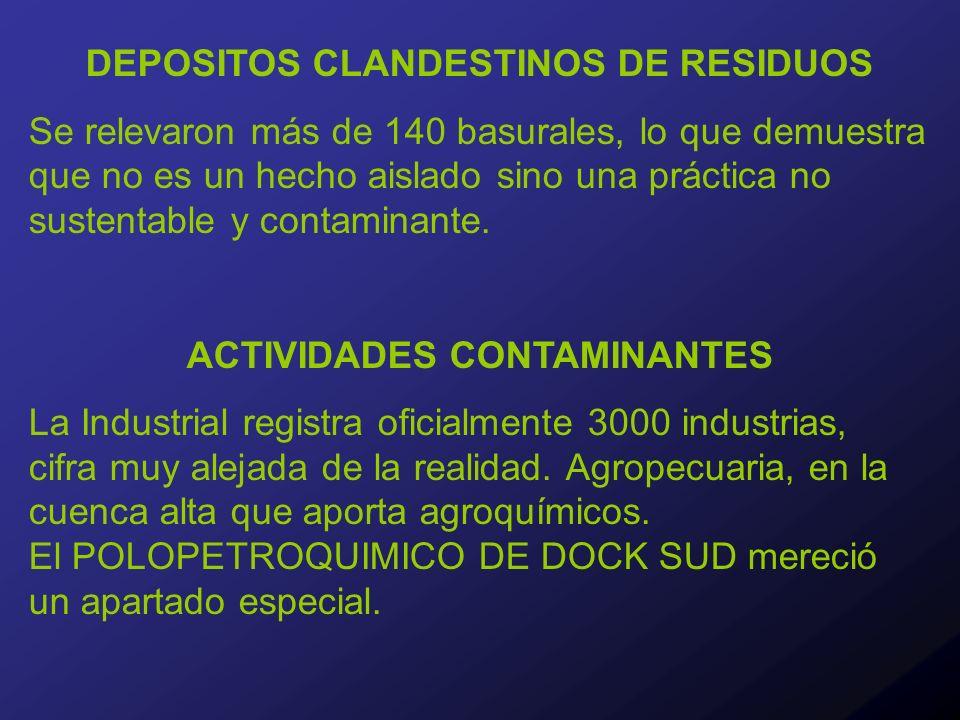 DEPOSITOS CLANDESTINOS DE RESIDUOS Se relevaron más de 140 basurales, lo que demuestra que no es un hecho aislado sino una práctica no sustentable y contaminante.