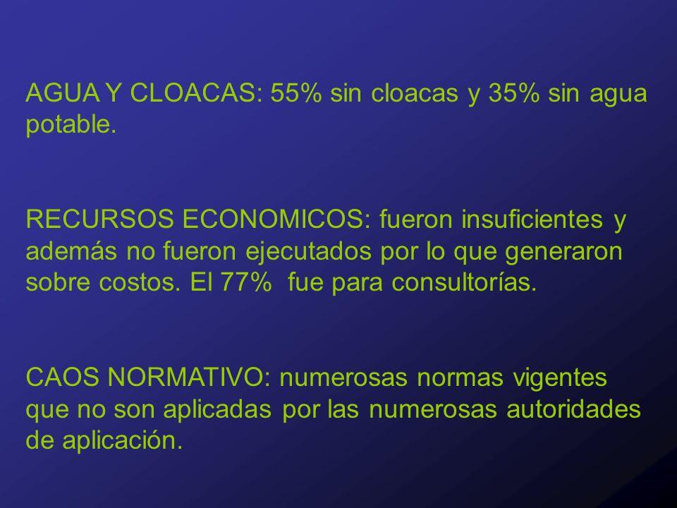 AGUA Y CLOACAS: 55% sin cloacas y 35% sin agua potable.