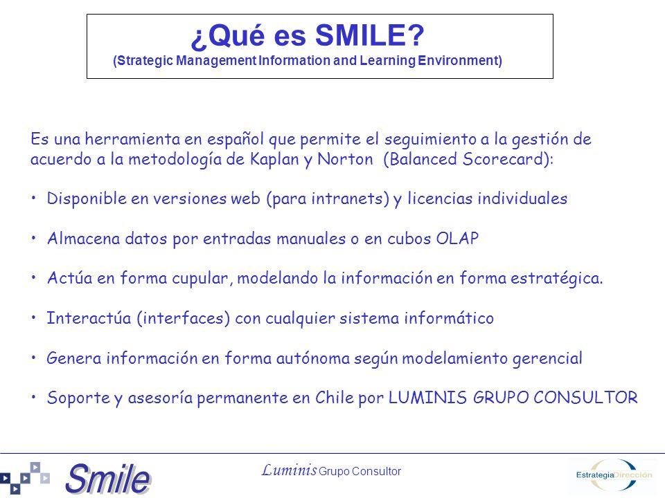 Luminis Grupo Consultor ¿Qué es SMILE? (Strategic Management Information and Learning Environment) Es una herramienta en español que permite el seguim