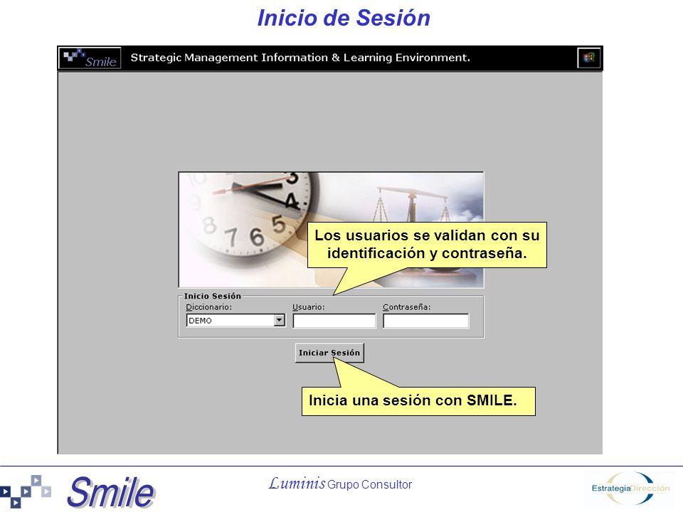 Luminis Grupo Consultor Inicio de Sesión Inicia una sesión con SMILE. Los usuarios se validan con su identificación y contraseña.