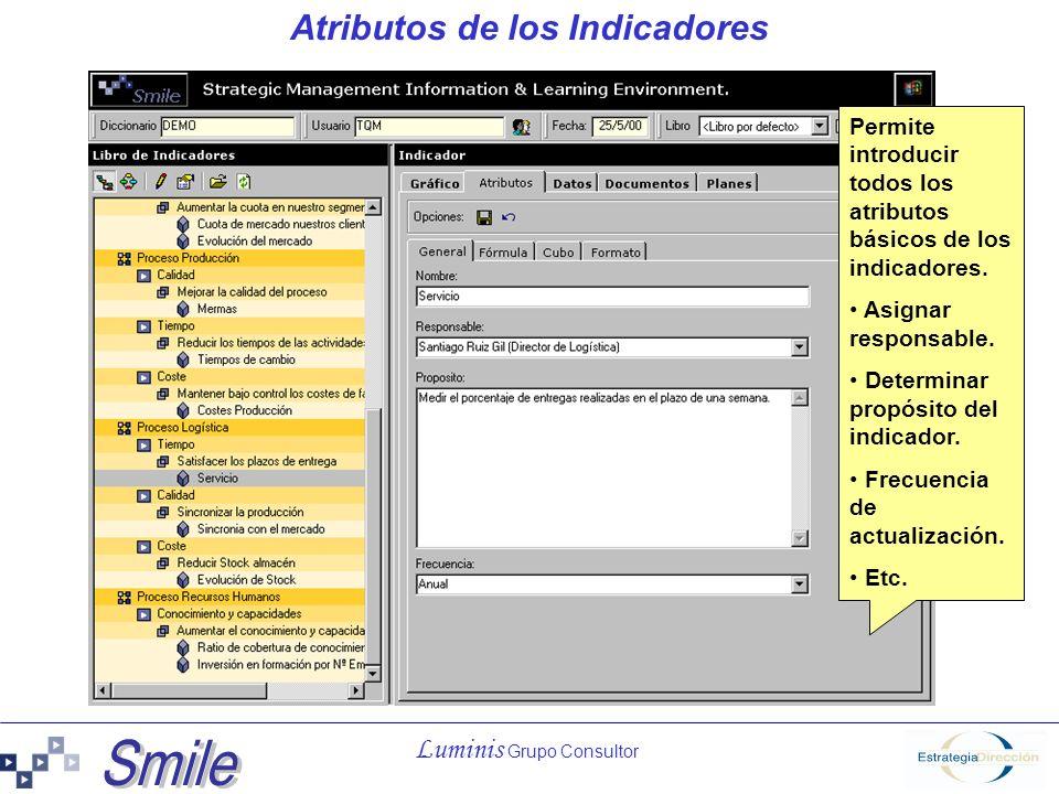 Luminis Grupo Consultor Atributos de los Indicadores Permite introducir todos los atributos básicos de los indicadores. Asignar responsable. Determina