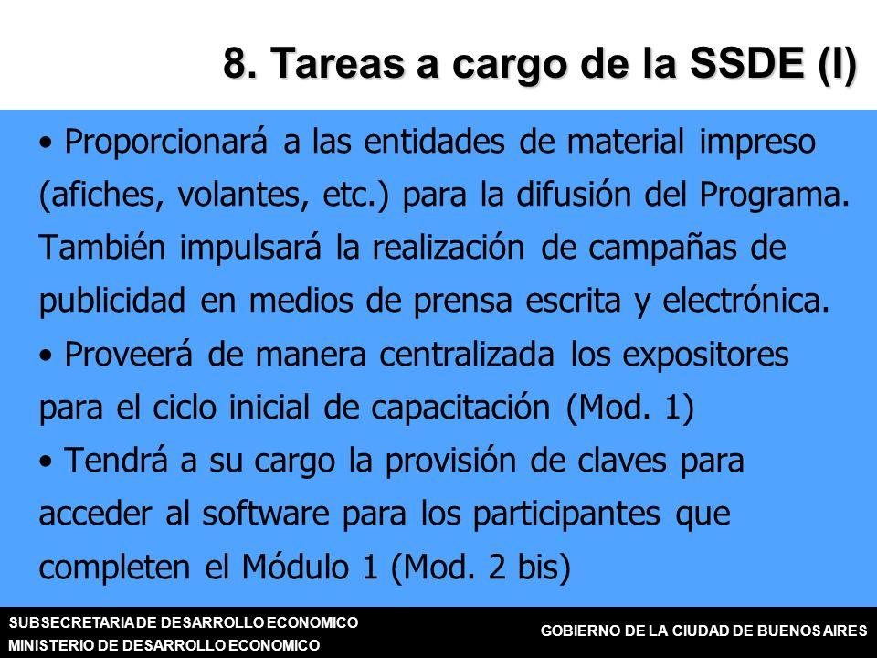 SUBSECRETARIA DE DESARROLLO ECONOMICO MINISTERIO DE DESARROLLO ECONOMICO GOBIERNO DE LA CIUDAD DE BUENOS AIRES 8.