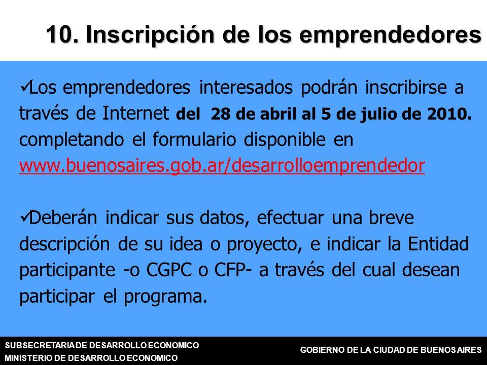 SUBSECRETARIA DE DESARROLLO ECONOMICO MINISTERIO DE DESARROLLO ECONOMICO GOBIERNO DE LA CIUDAD DE BUENOS AIRES Los emprendedores interesados podrán inscribirse a través de Internet del 28 de abril al 5 de julio de 2010.