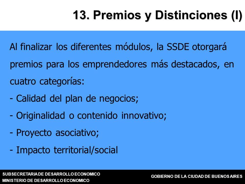 SUBSECRETARIA DE DESARROLLO ECONOMICO MINISTERIO DE DESARROLLO ECONOMICO GOBIERNO DE LA CIUDAD DE BUENOS AIRES 13.