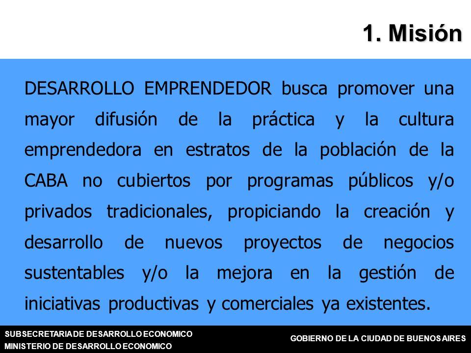 SUBSECRETARIA DE DESARROLLO ECONOMICO MINISTERIO DE DESARROLLO ECONOMICO GOBIERNO DE LA CIUDAD DE BUENOS AIRES DESARROLLO EMPRENDEDOR busca promover una mayor difusión de la práctica y la cultura emprendedora en estratos de la población de la CABA no cubiertos por programas públicos y/o privados tradicionales, propiciando la creación y desarrollo de nuevos proyectos de negocios sustentables y/o la mejora en la gestión de iniciativas productivas y comerciales ya existentes.