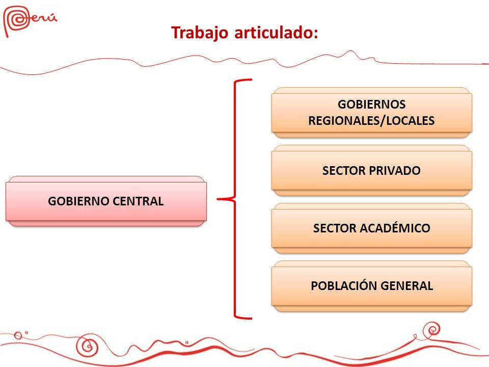 Trabajo articulado: GOBIERNOS REGIONALES/LOCALES SECTOR PRIVADO SECTOR ACADÉMICO POBLACIÓN GENERAL GOBIERNO CENTRAL