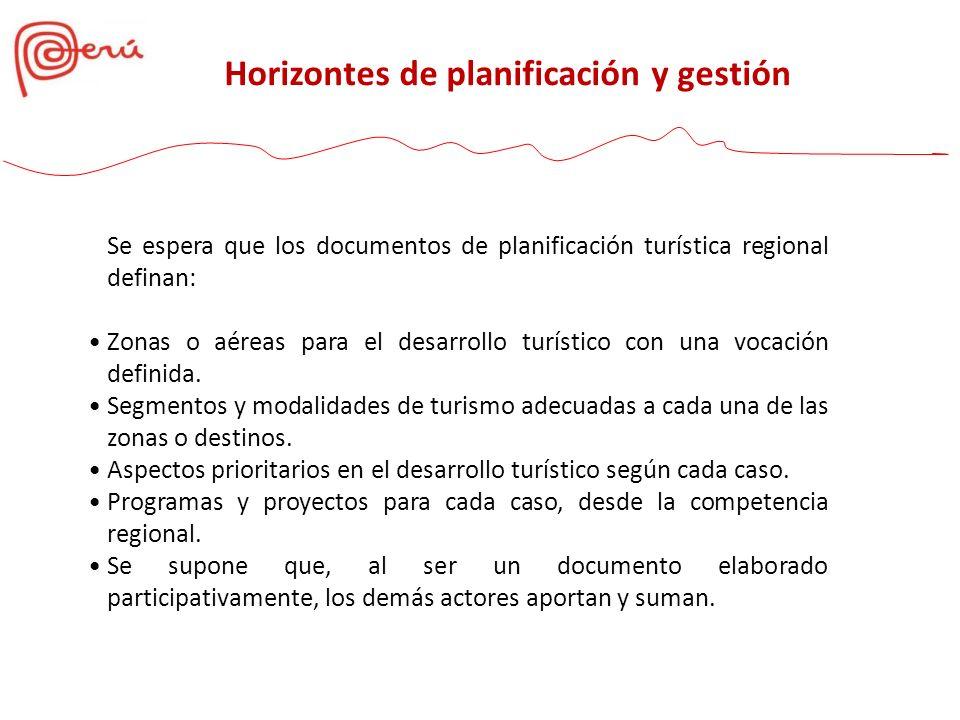 Se espera que los documentos de planificación turística regional definan: Zonas o aéreas para el desarrollo turístico con una vocación definida. Segme