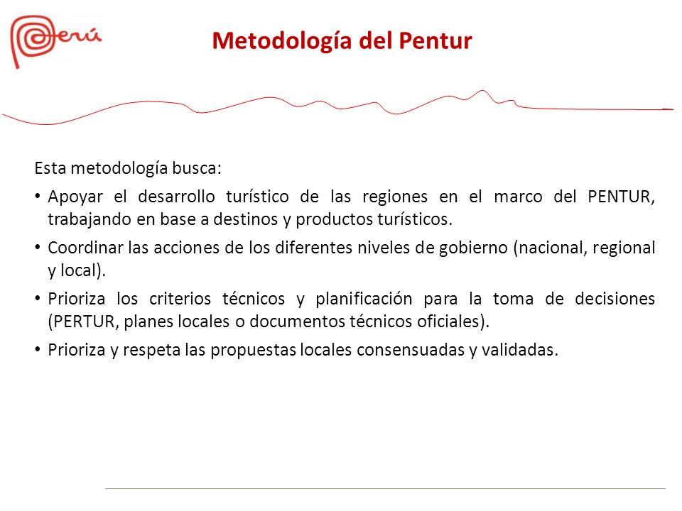 Esta metodología busca: Apoyar el desarrollo turístico de las regiones en el marco del PENTUR, trabajando en base a destinos y productos turísticos. C