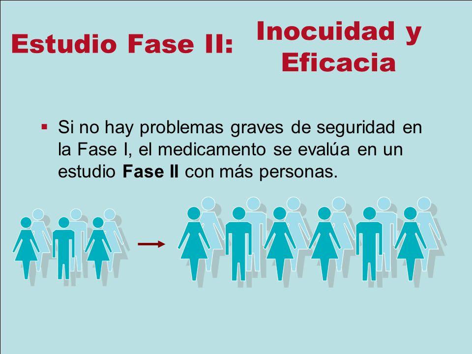 Estudio Fase II: Si no hay problemas graves de seguridad en la Fase I, el medicamento se evalúa en un estudio Fase II con más personas. Inocuidad y Ef