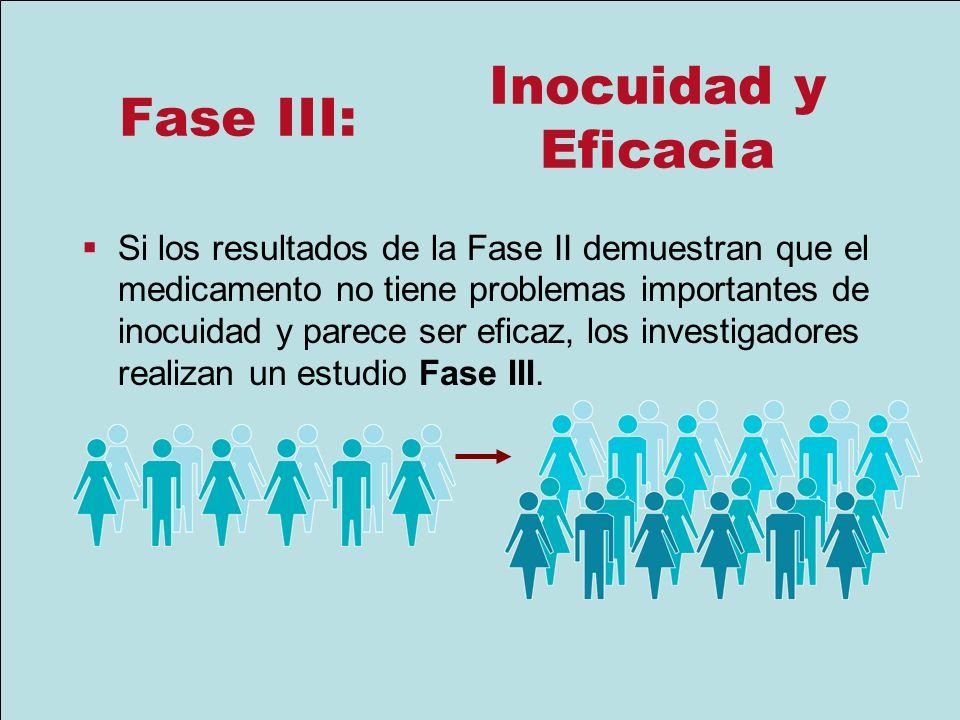 Fase III: Si los resultados de la Fase II demuestran que el medicamento no tiene problemas importantes de inocuidad y parece ser eficaz, los investiga