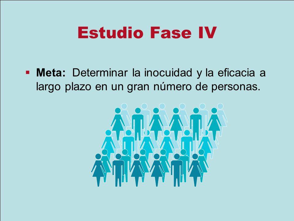 Estudio Fase IV Meta: Determinar la inocuidad y la eficacia a largo plazo en un gran número de personas.