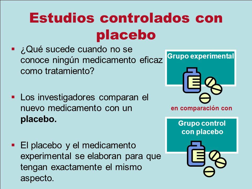 Estudios controlados con placebo ¿Qué sucede cuando no se conoce ningún medicamento eficaz como tratamiento? Los investigadores comparan el nuevo medi