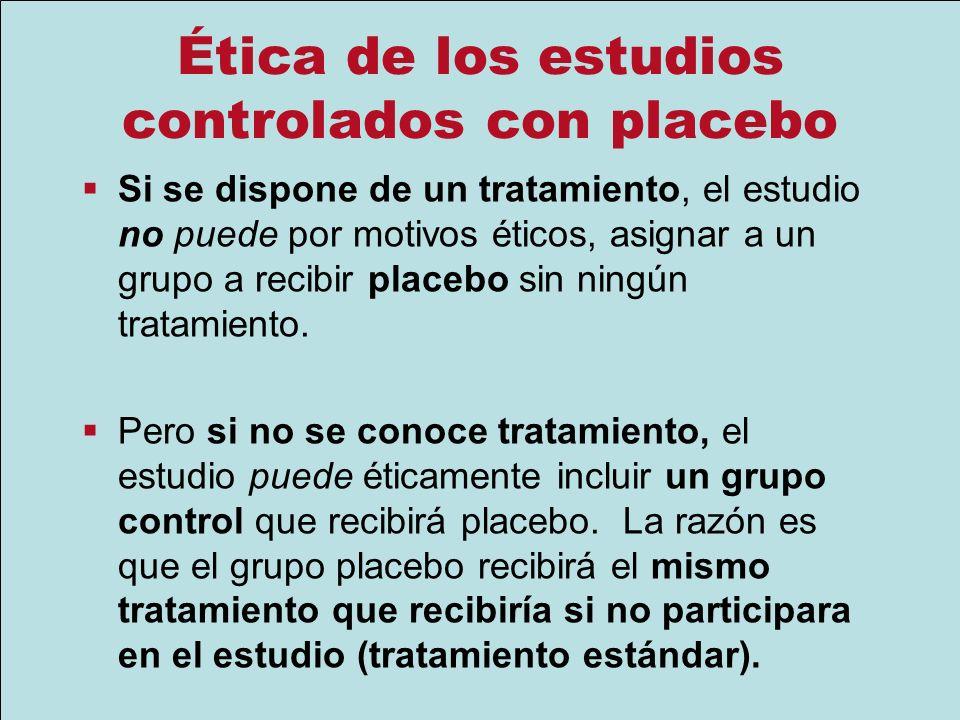 Ética de los estudios controlados con placebo Si se dispone de un tratamiento, el estudio no puede por motivos éticos, asignar a un grupo a recibir pl