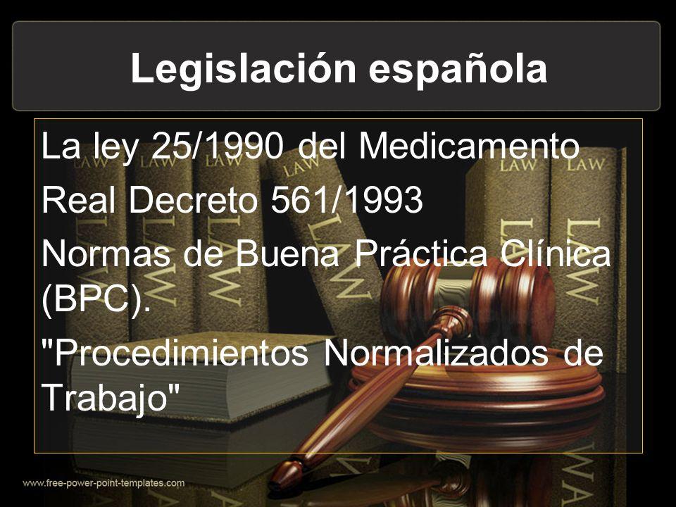 Legislación española La ley 25/1990 del Medicamento Real Decreto 561/1993 Normas de Buena Práctica Clínica (BPC).