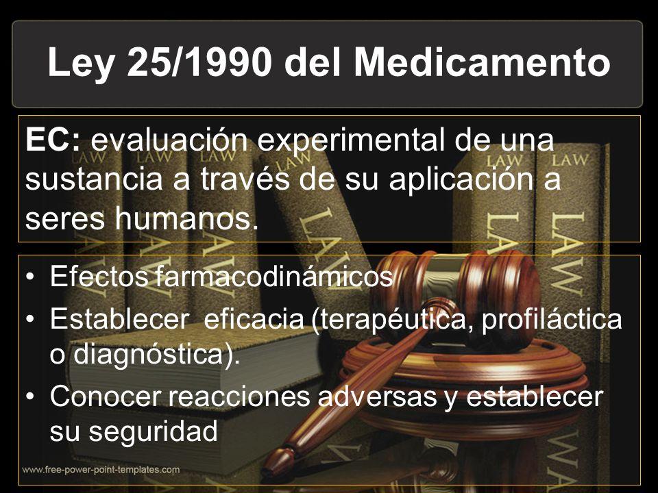 Ley 25/1990 del Medicamento EC: evaluación experimental de una sustancia a través de su aplicación a seres humanos. Efectos farmacodinámicos Establece