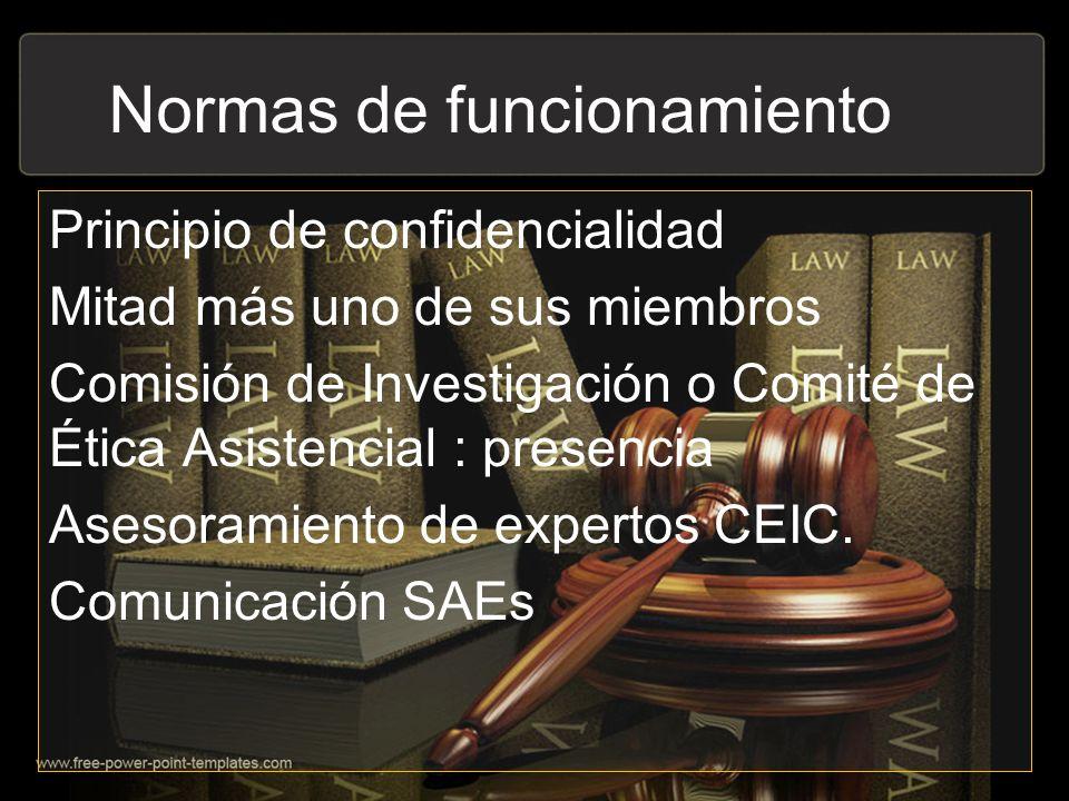 Normas de funcionamiento Principio de confidencialidad Mitad más uno de sus miembros Comisión de Investigación o Comité de Ética Asistencial : presenc