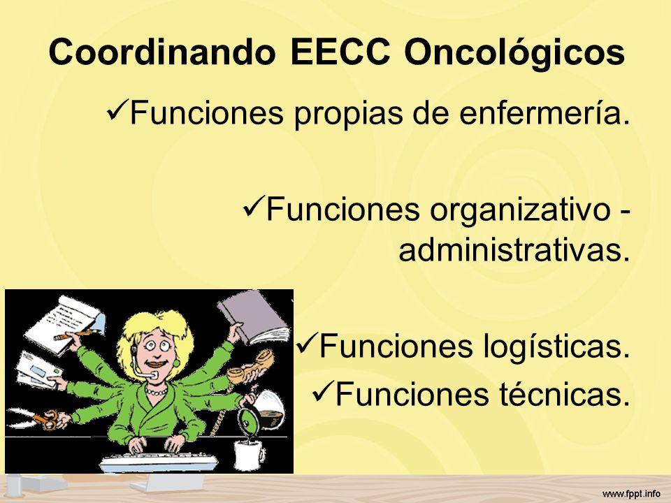 Coordinando EECC Oncológicos Funciones propias de enfermería. Funciones organizativo - administrativas. Funciones logísticas. Funciones técnicas.