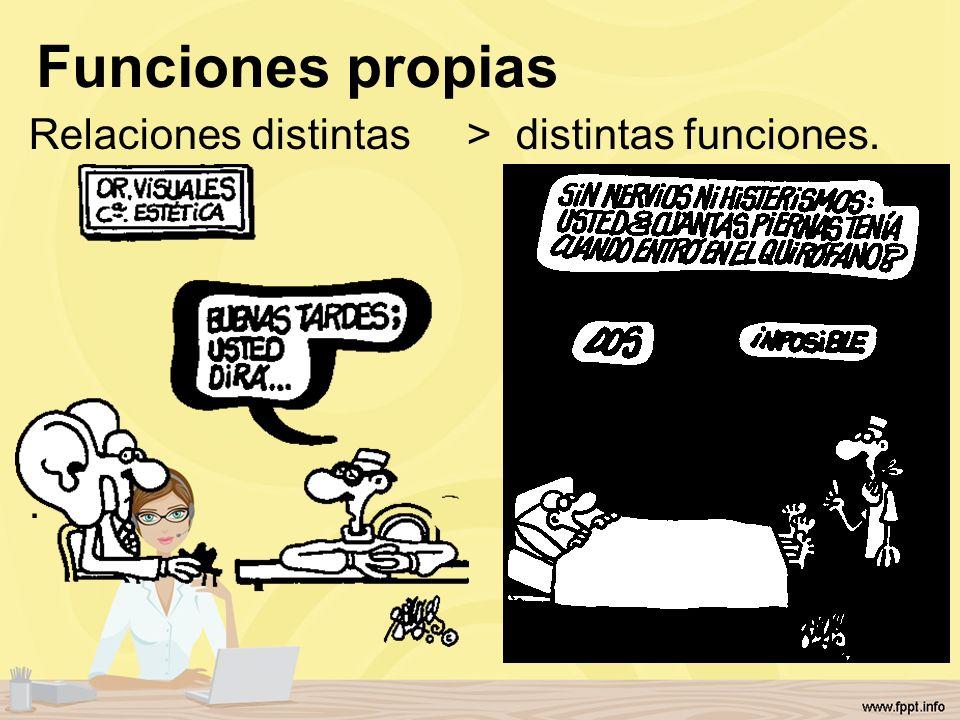 Funciones propias Relaciones distintas > distintas funciones..