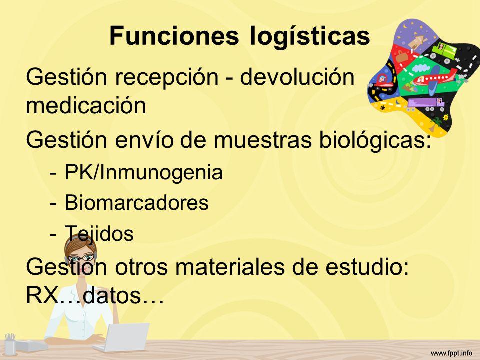 Funciones logísticas Gestión recepción - devolución medicación Gestión envío de muestras biológicas: -PK/Inmunogenia -Biomarcadores -Tejidos Gestión o