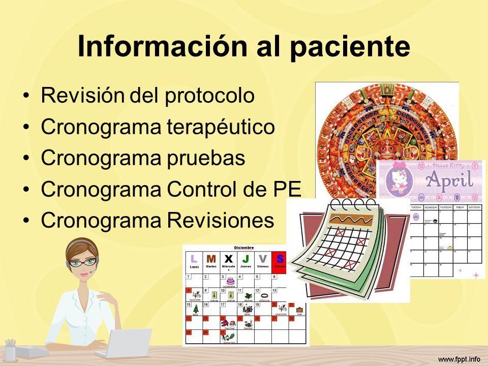 Información al paciente Revisión del protocolo Cronograma terapéutico Cronograma pruebas Cronograma Control de PE Cronograma Revisiones